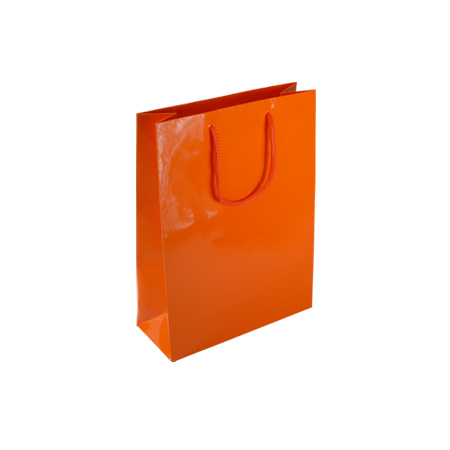 Por90sg Small Orange Gloss Laminated Paper Gift Bags