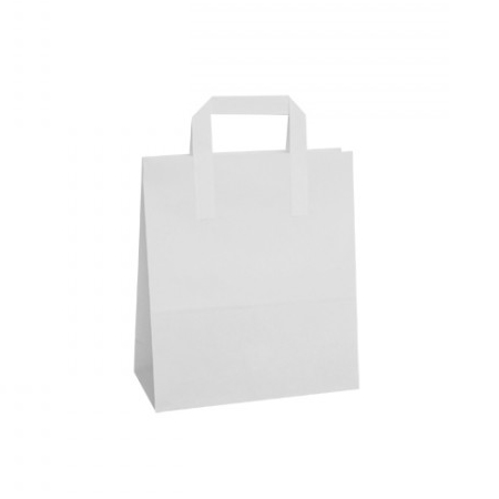 a58d9082e4 PB613MP - Medium White Paper Carrier Bags Flat Taped Handle