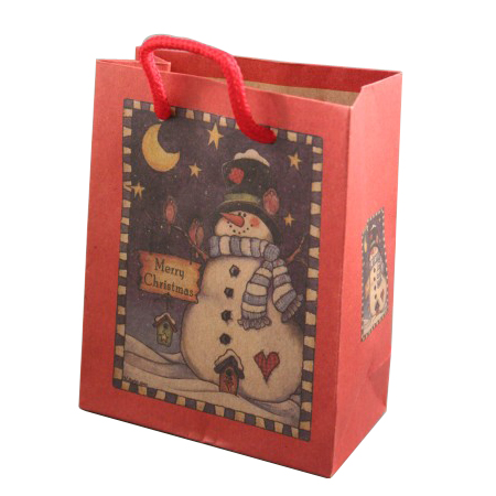 Small Red Natural Paper Snowman Christmas Gift Bag with Cord Handle