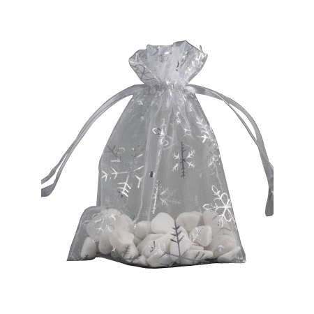Small White Organza Gift Bag with Silver Snowflake Print