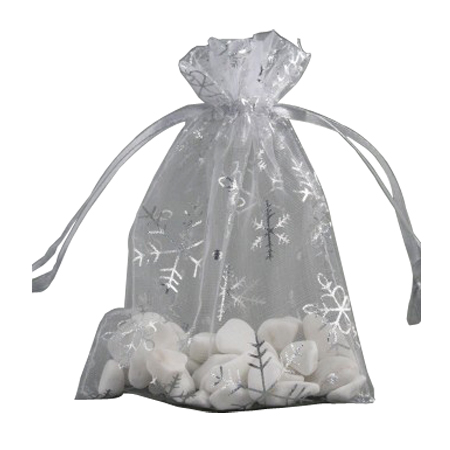 Medium White Organza Gift Bag with Silver Snowflake Print