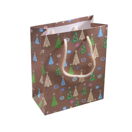 Small Brown Christmas Tree Gift Bag with Black Corded Handles