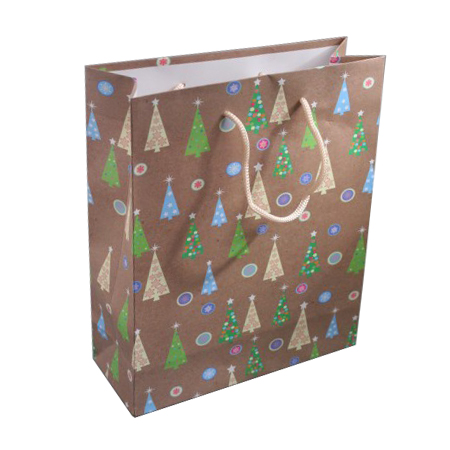 Medium Brown Christmas Tree Gift Bag with Black Corded Handles
