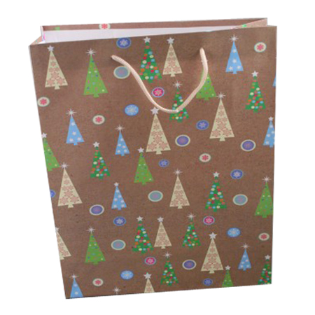Large Brown Christmas Tree Gift Bag with Black Corded Handles