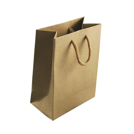 Extra Small Natural Brown Paper Gift Bag with Corded Handle