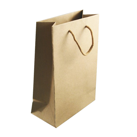 Small Natural Brown Paper Gift Bag with Corded Handle