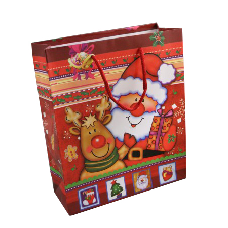 Medium Red Christmas Santa Reindeer Gift Bag