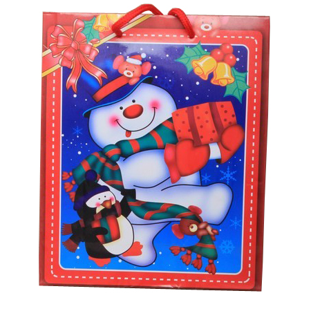 Medium-Red-Snowman Christmas Gift Bag