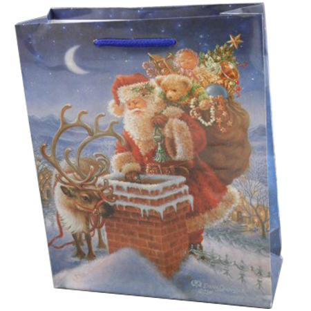 Large Sky Blue Christmas Santa Chimney Gift Bag
