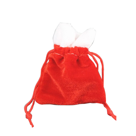 Ex Small Red Velvet Christmas Santa Sack Drawstring Gift Bag