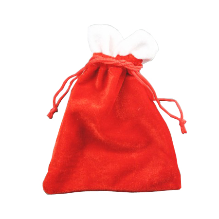 Small Red Velvet Christmas Santa Sack Drawstring Gift Bag