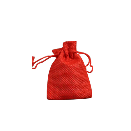 Ex Small Red Jute Effect Drawstring Gift Bag