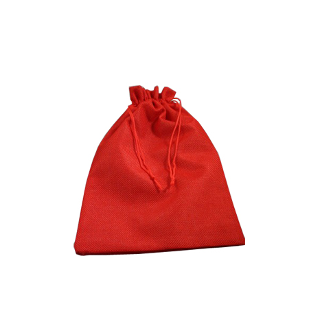 Small Red Jute Effect Drawstring Gift Bag