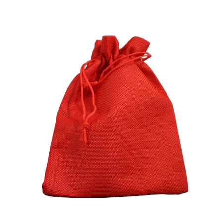 Medium Red Jute Effect Drawstring Gift Bag