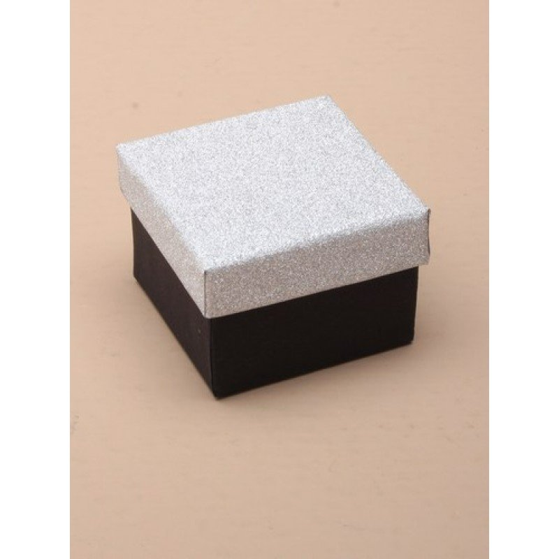 Extra Small Black Gift Box with Silver Glitter Lid
