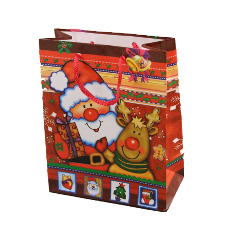 Small Red Christmas Santa Reindeer Gift Bag