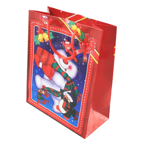 Small Red Snowman Christmas Gift Bag