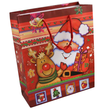 Large Red Christmas Santa Reindeer Gift Bag