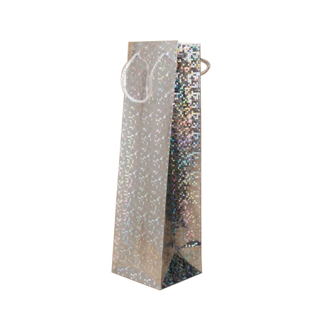 Silver Holographic Foil Bottle Gift Bag with White Corded Handle