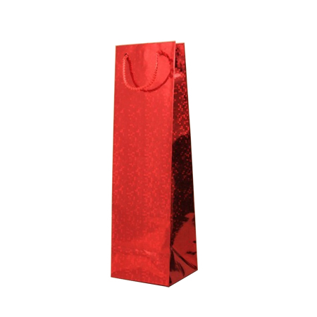 Red Holographic Foil Bottle Gift Bag with Corded Handle
