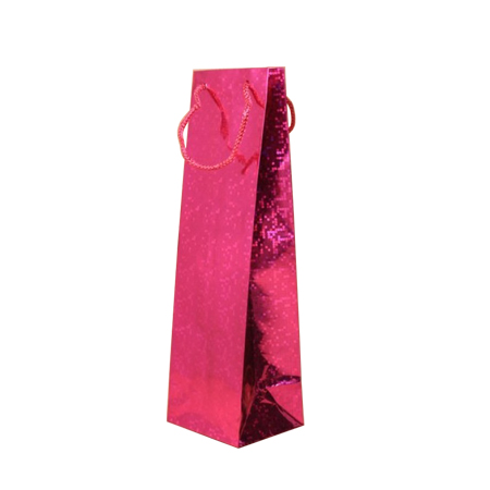 Pink Holographic Foil Bottle Gift Bag with Corded Handle