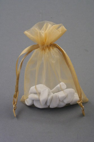 Small Gold Organza Gift Bag with Gold Glitter Leaf Print