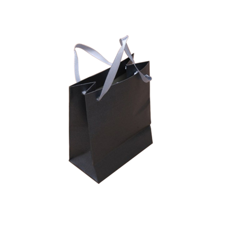 Ex Small Dark Grey Metallic Paper Gift Bag with Ribbon Handle