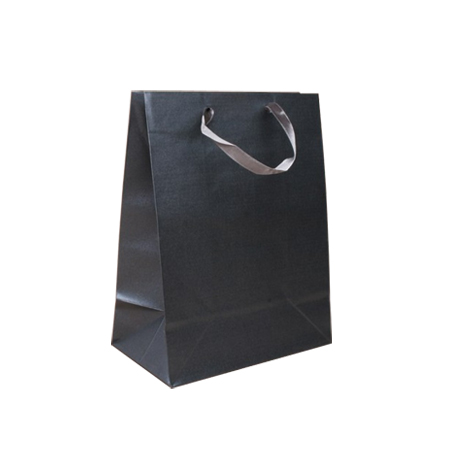 Small Dark Grey Metallic Paper Gift Bag with Ribbon Handle