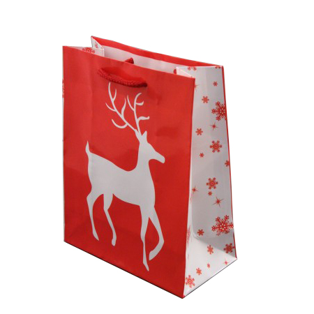 Small Glossy Red Christmas Gift Bag with White Reindeer Design