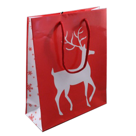 Medium Glossy Red Christmas Gift Bag with White Reindeer Design