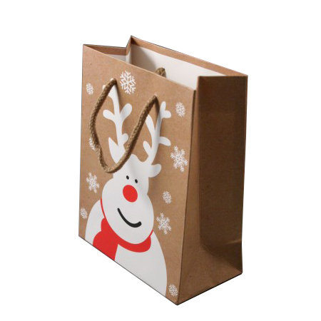 Small Natural Brown Christmas Gift Bag with White Reindeer and Snowflake Print Cord Handle