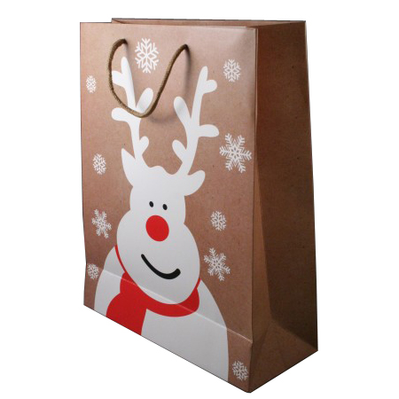Medium Natural Brown Christmas Gift Bag with White Reindeer and Snowflake Print Cord Handle