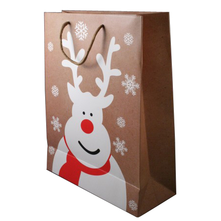 Large Natural Brown Christmas Gift Bag with White Reindeer and Snowflake Print Cord Handle