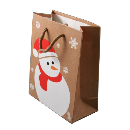 Small Natural Brown Christmas Gift Bag with Snowman and Snowflake Print Cord Handle