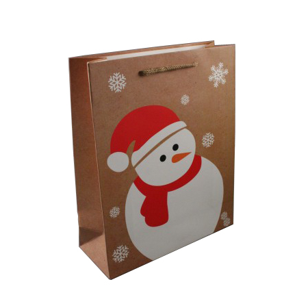 Medium Natural Brown Christmas Gift Bag with Snowman and Snowflake Print Cord Handle