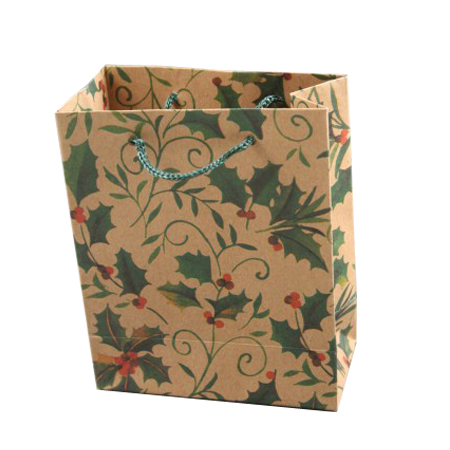 Small Holly Print Natural Brown Gift Bag with Cord Handles