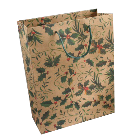 Medium Holly Print Natural Brown Gift Bag with Cord Handles