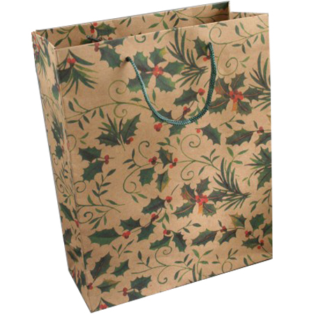 Large Holly Print Natural Brown Gift Bag with Cord Handles