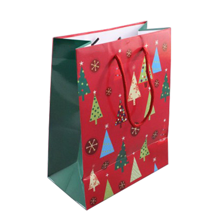 Medium Glossy Red Christmas Gift Bag with Tree Decoration