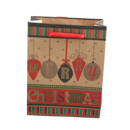 Small Natural Brown Paper Gift Bag with Merry Christmas Bauble Print and Cord Handle