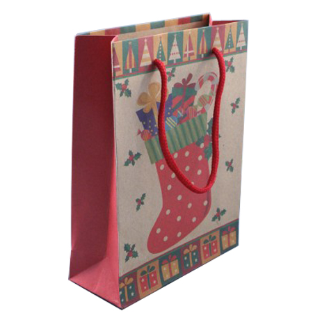 Medium Natural Brown Christmas Stocking Gift Bag with Cord Handles