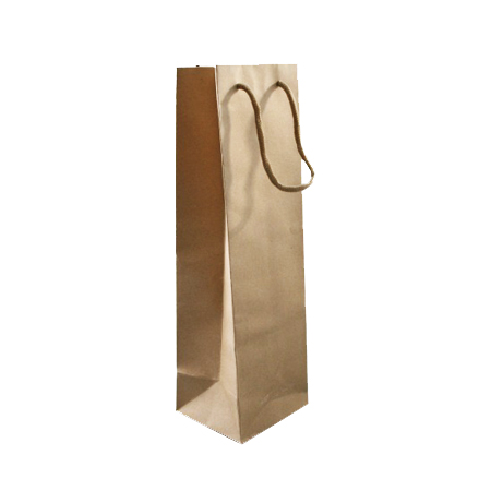 Medium Natural Brown Paper Bottle Gift Bag with Corded Handle