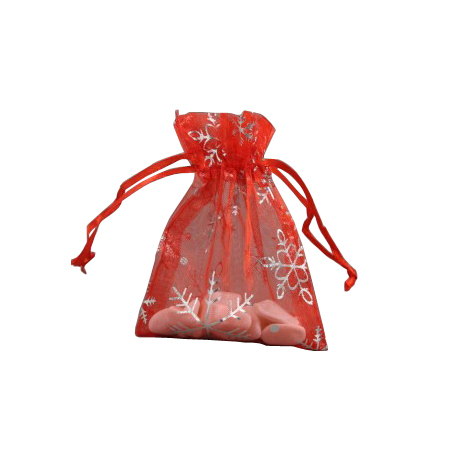 Small Red Organza Gift Bag with Silver Snowflake Print