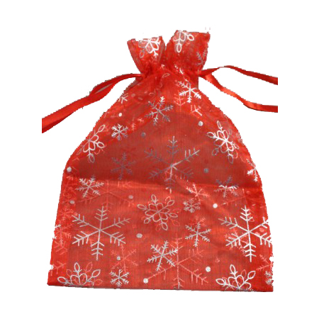 Medium Red Organza Gift Bag with Silver Snowflake Print