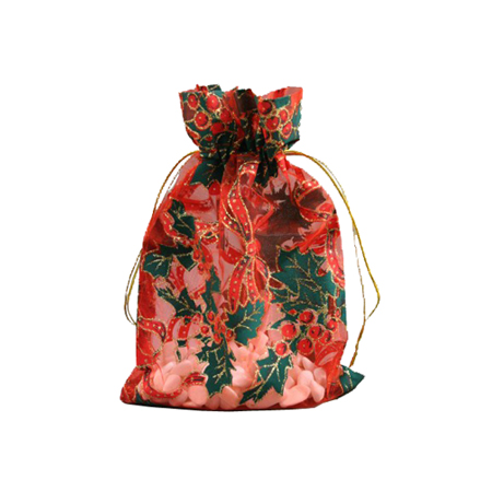 Small-Red with Holly Print-Organza Bags