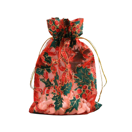 Small Red Christmas Organza Gift Bag with Holly Print