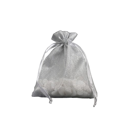 Small-Silver with Shiny Silver Thread-Organza Bags