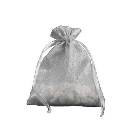 Small Silver Organza Gift Bag with Shiny Silver Thread
