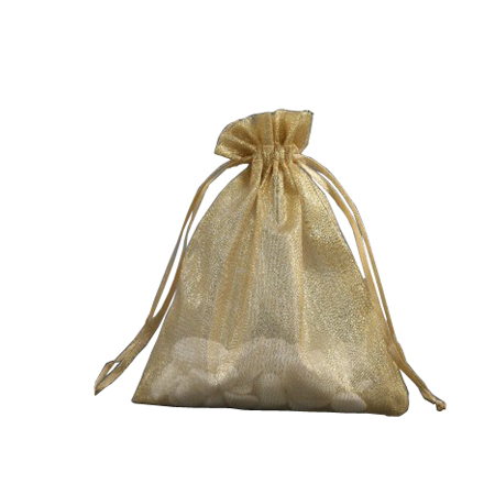 Small Gold Organza Gift Bag with Shiny Silver Thread