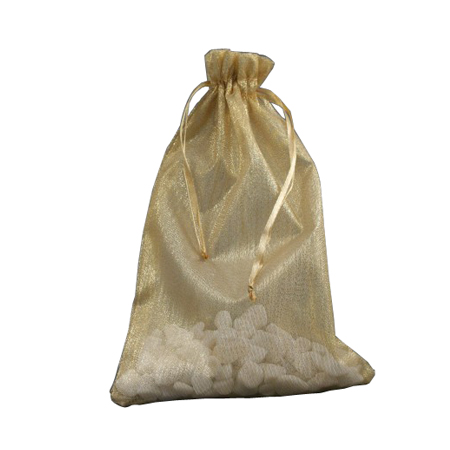 Medium Gold Organza Gift Bag with Shiny Silver Thread